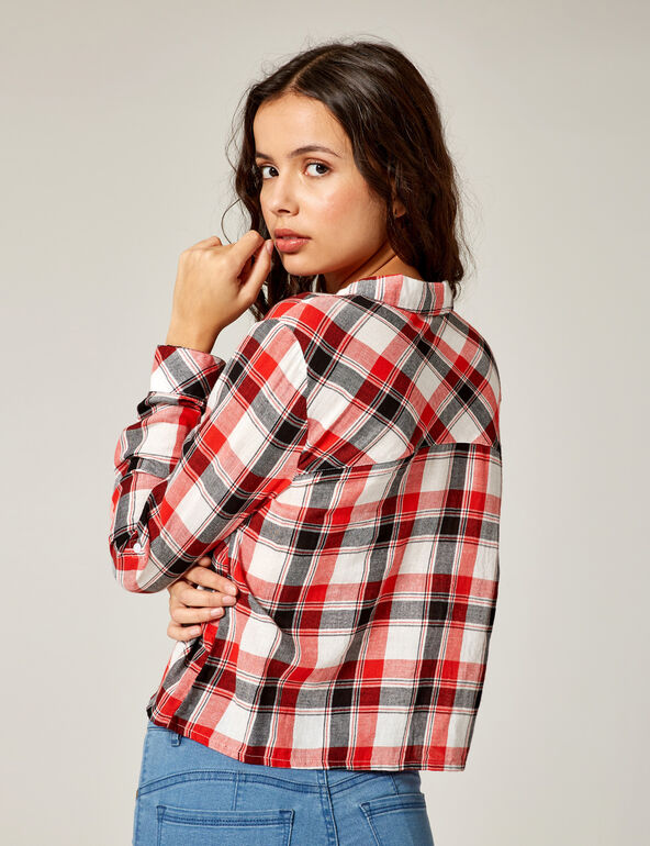Red, black and white checked shirt