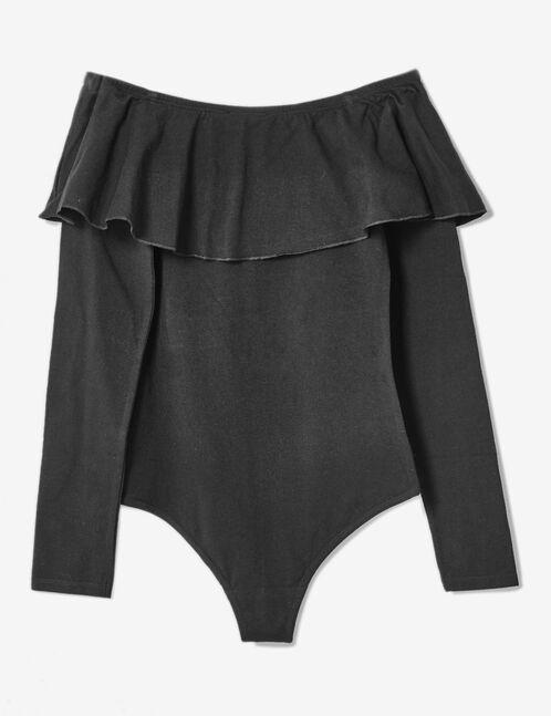 Black off-the-shoulder bodysuit