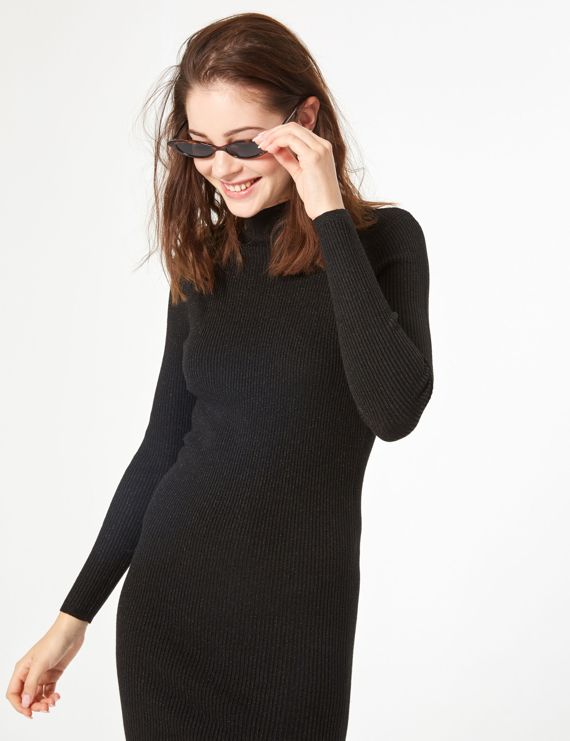 Ribbed jumper dress with lurex detail