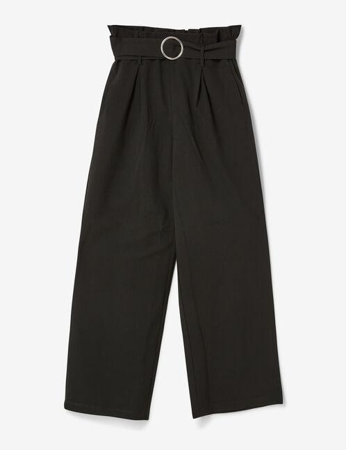 pantalon large avec ceinture noir femme jennyfer. Black Bedroom Furniture Sets. Home Design Ideas
