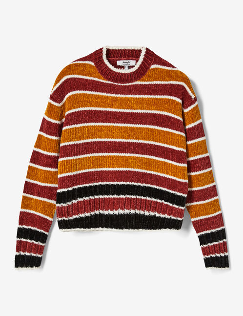 pul chenille rayé rouge