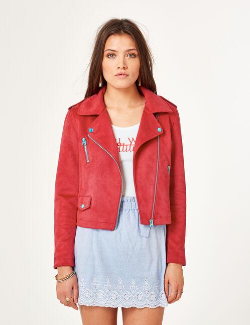 veste biker en suédine rouge foncé