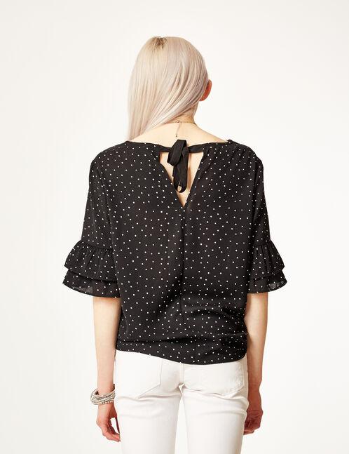 blouse manches à volants noir