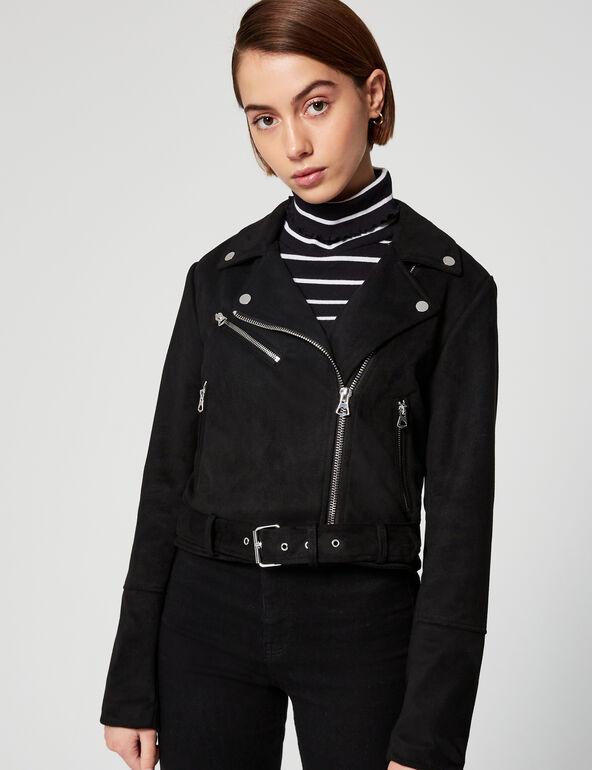 Imitation suede biker jacket