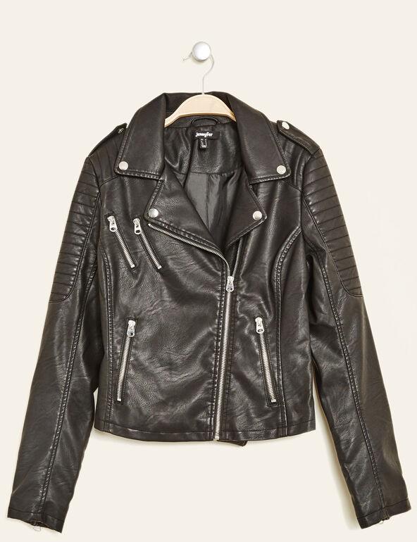 veste biker noire
