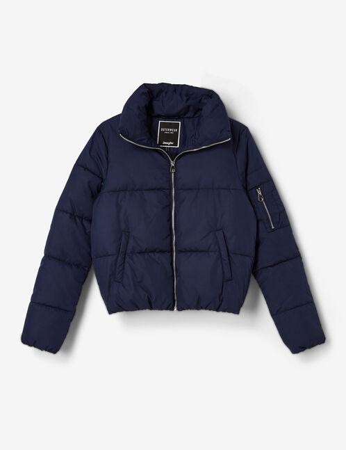 Navy blue high-necked padded jacket