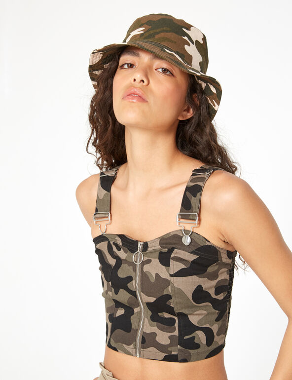 Zipped crop top with straps