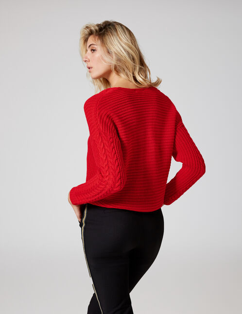 Red jumper with lacing detail