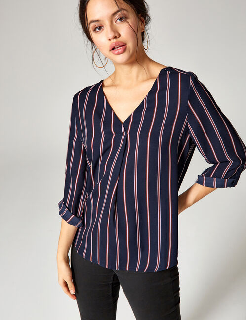Navy blue, rust and blue striped blouse
