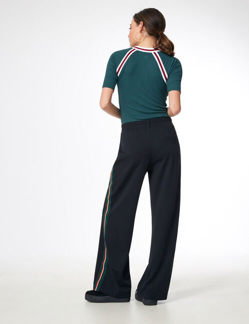 Black trousers with side trim detail