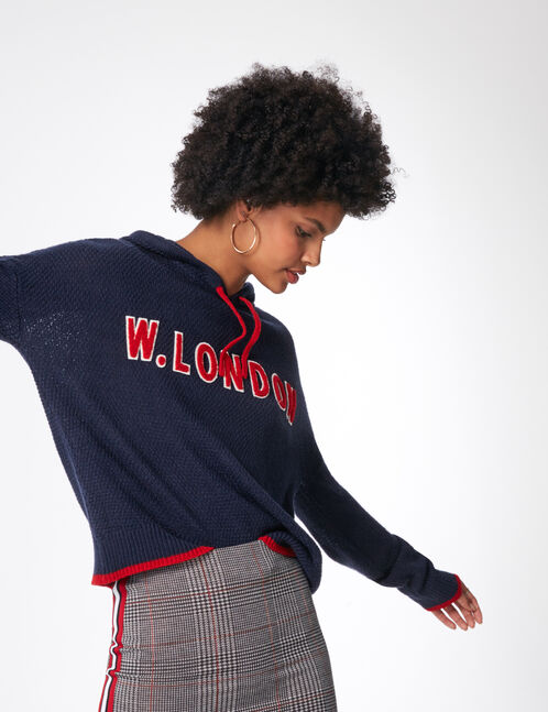 "Navy blue and red ""W London"" hoodie"