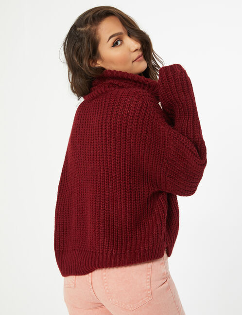 Cropped polo neck jumper