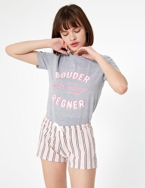 set pyjama bouder gris chiné, rose clair et blanc
