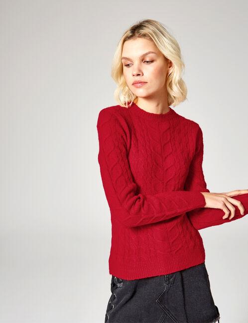 pull tressé rouge