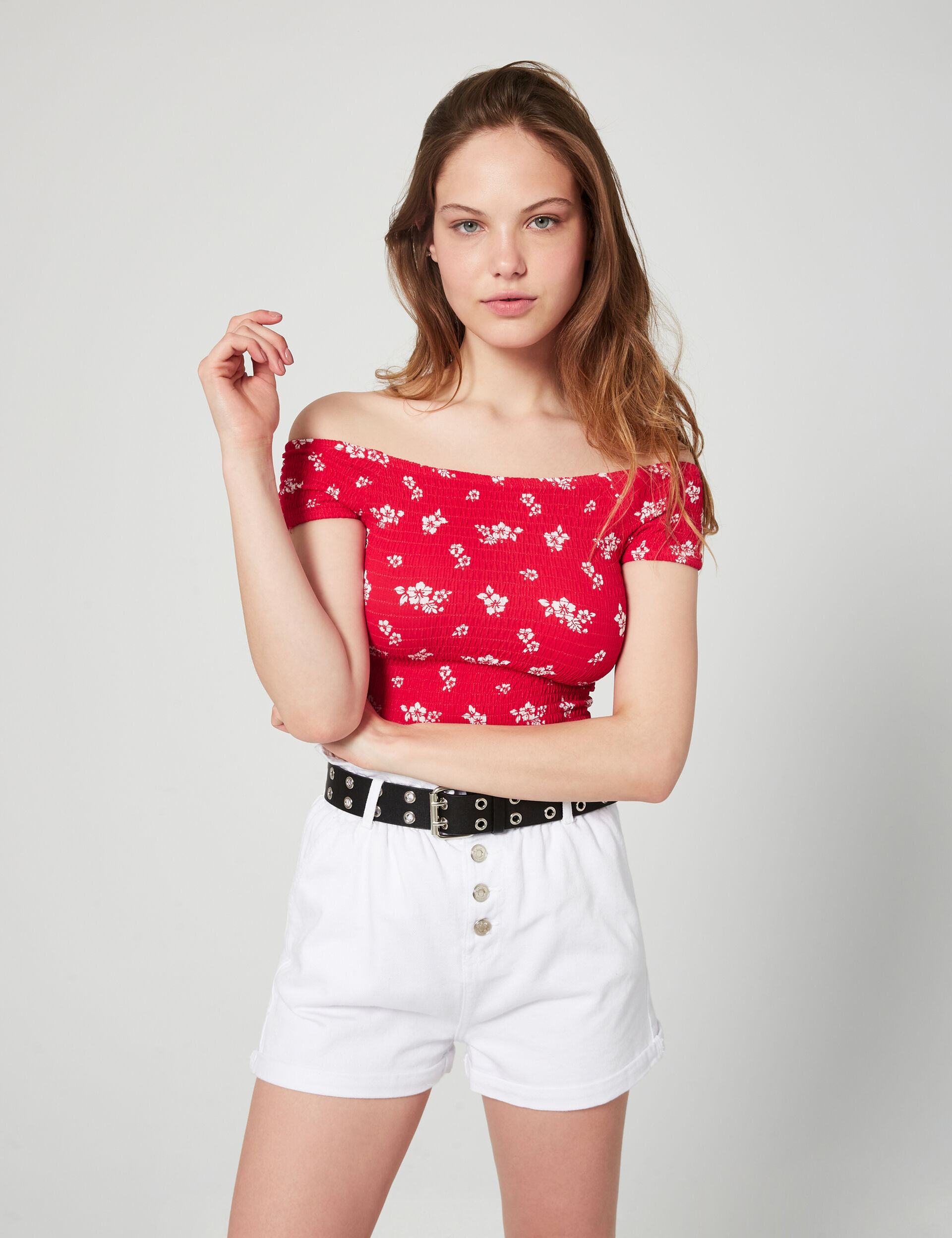 crop top smocké fleuri