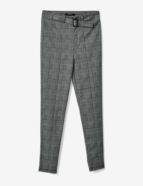 Black and white glen check trousers