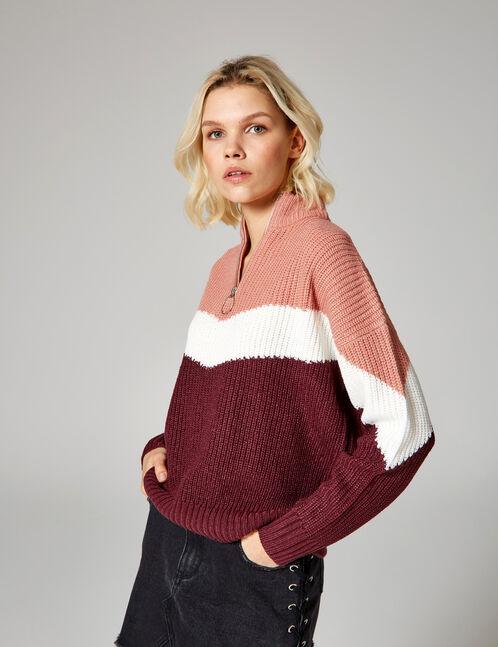 pull tricolore zippé bordeaux, rose clair et écru