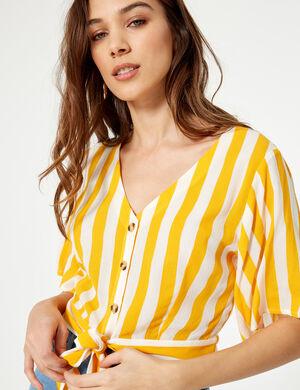 chemisette rayée boutonnée jaune
