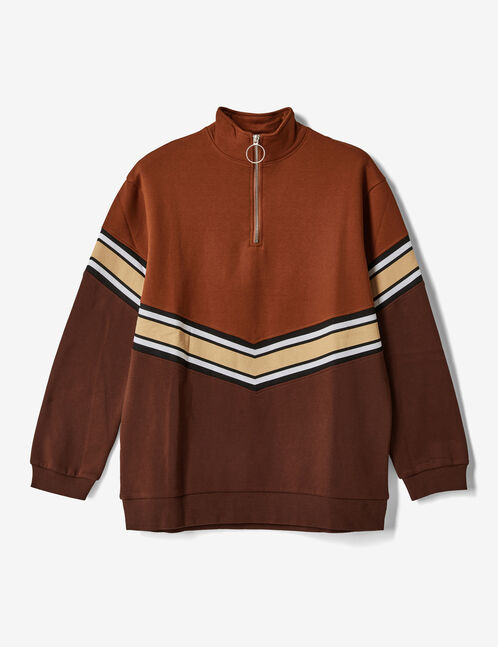 Long camel and brown sweatshirt with chevron detail