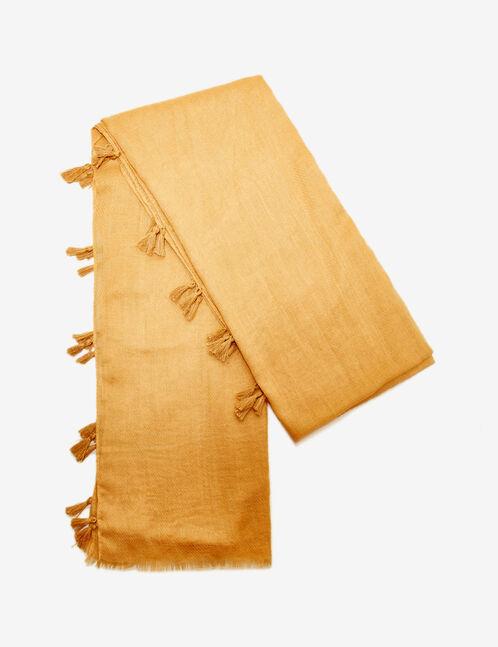 Ochre scarf with tassel detail
