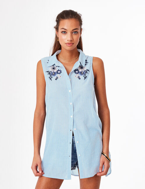 Blue and cream long embroidered shirt