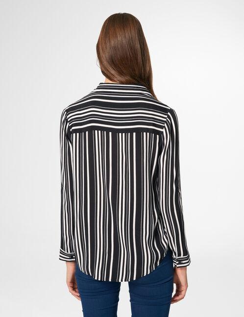 blouse rayée col v noire et écrue