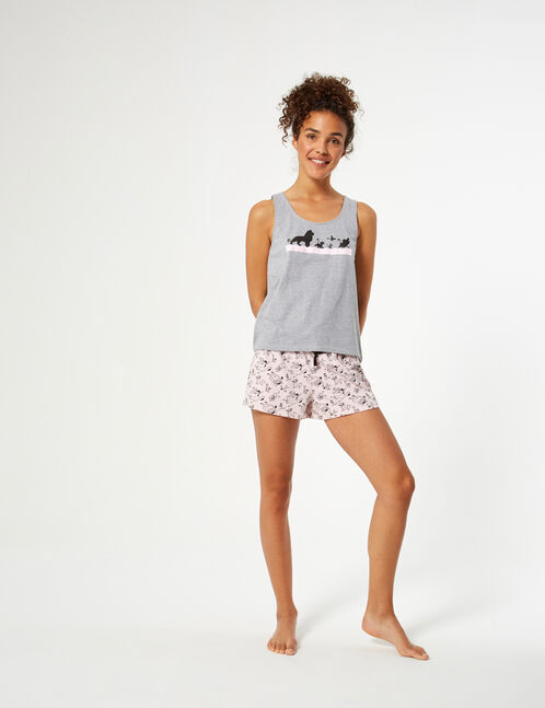 set pyjama disney gris, rose clair et noir