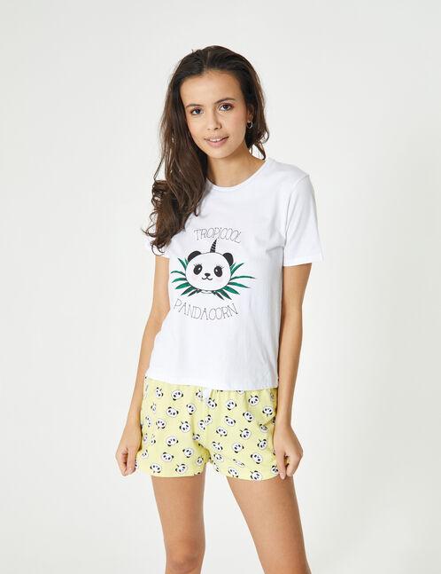 set pyjama pandacorn blanc, jaune clair et noir