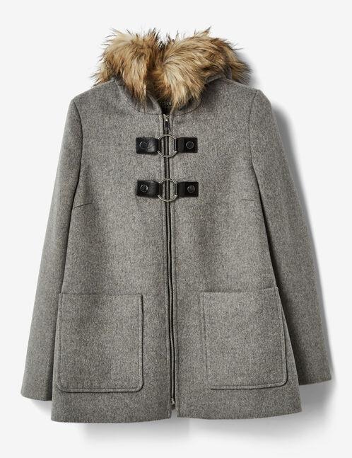 manteau avec boucles gris chiné