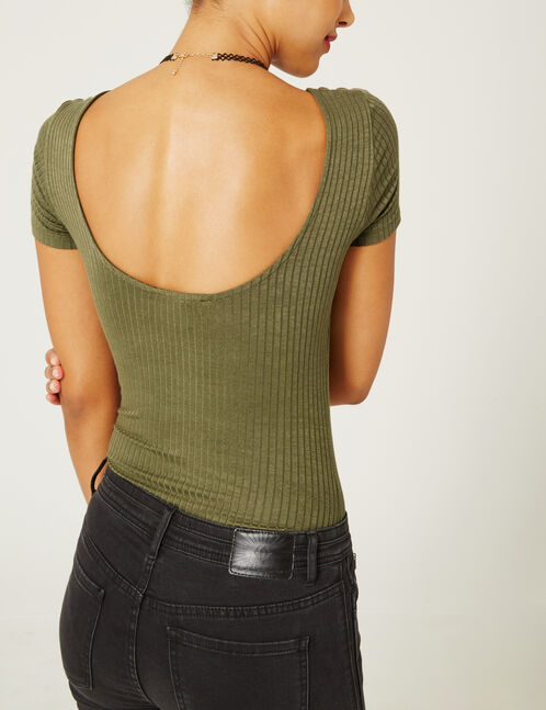 Khaki V-neck bodysuit with strap detail