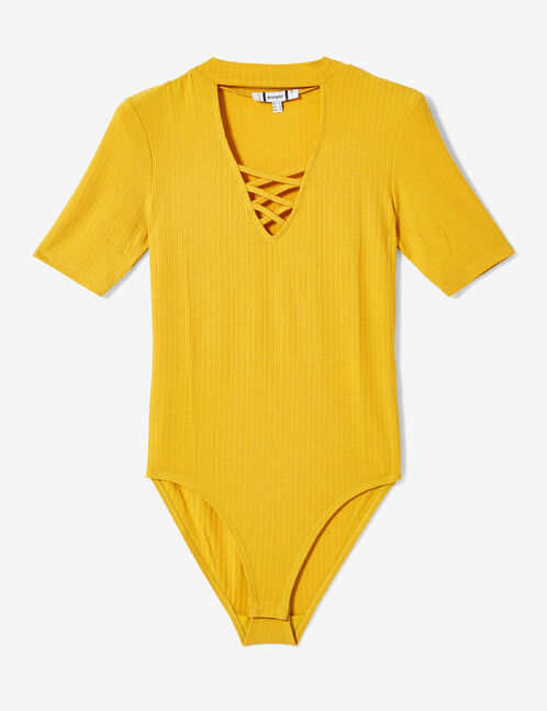 Ochre bodysuit with strap detail