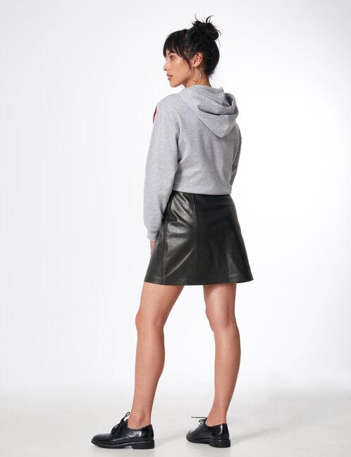 jupe avec découpes et zip noire