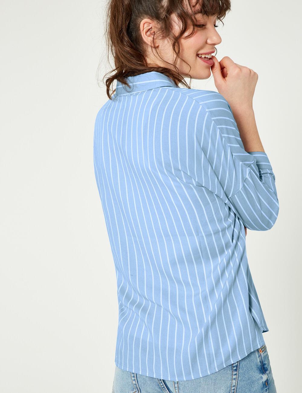 chemise ray e bleu clair et blanche femme jennyfer. Black Bedroom Furniture Sets. Home Design Ideas