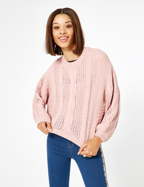 pull chenille ajourée rose clair