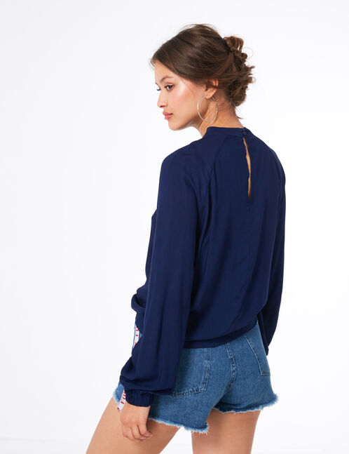 Navy blue blouse with open detail