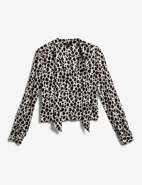 blouse col lavallière écrue, marron et noire
