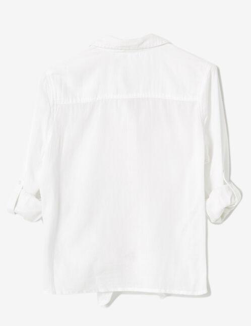 White tie-fastening shirt