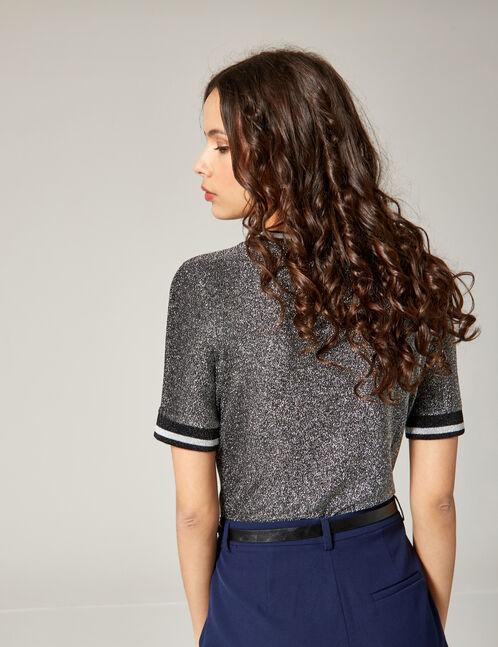 tee-shirt chevrons lurex noir et argenté