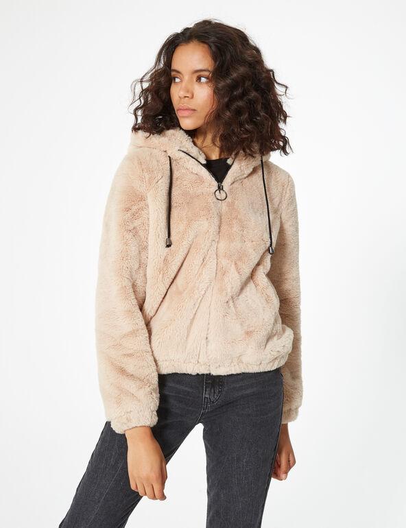 Imitation fur hooded jacket