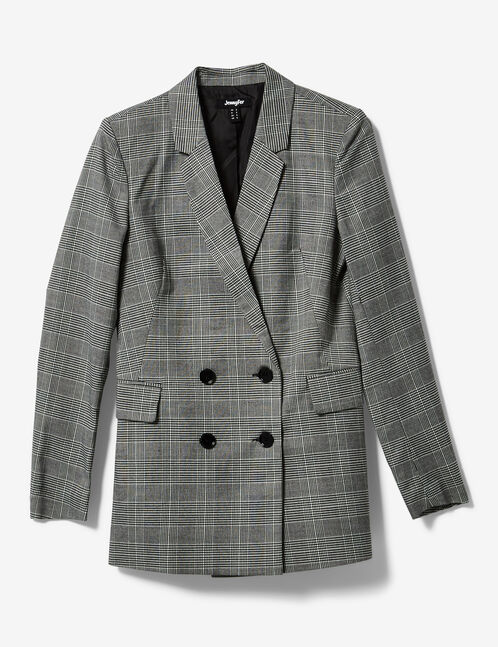 Black and white glen check blazer