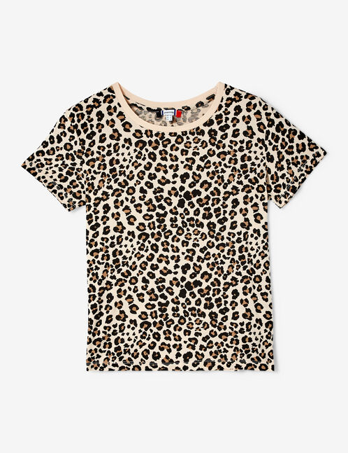 Beige and black leopard print T-shirt