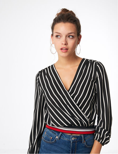 Black and white striped wrap blouse