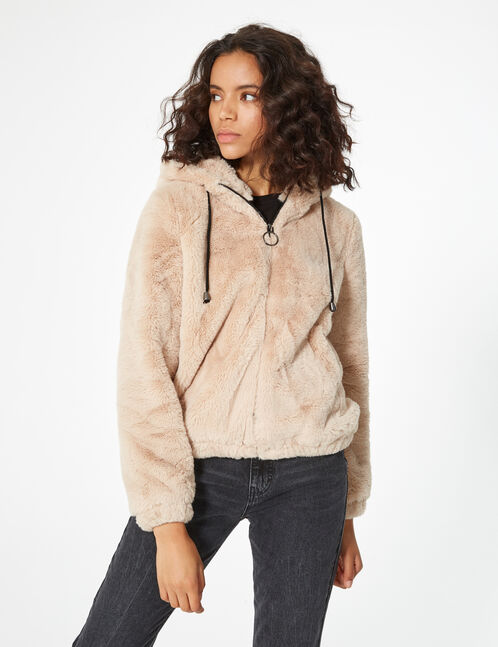 imitation fur hooded jacket