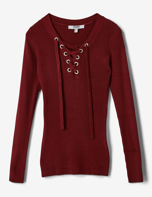 Burgundy ribbed jumper with lacing detail