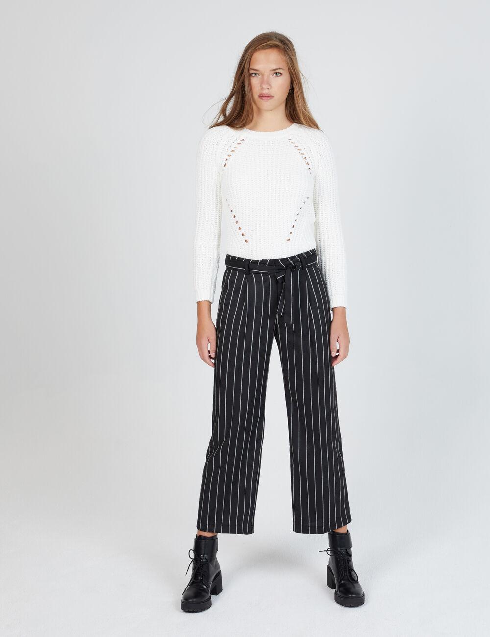 Pantalon large rayé noir
