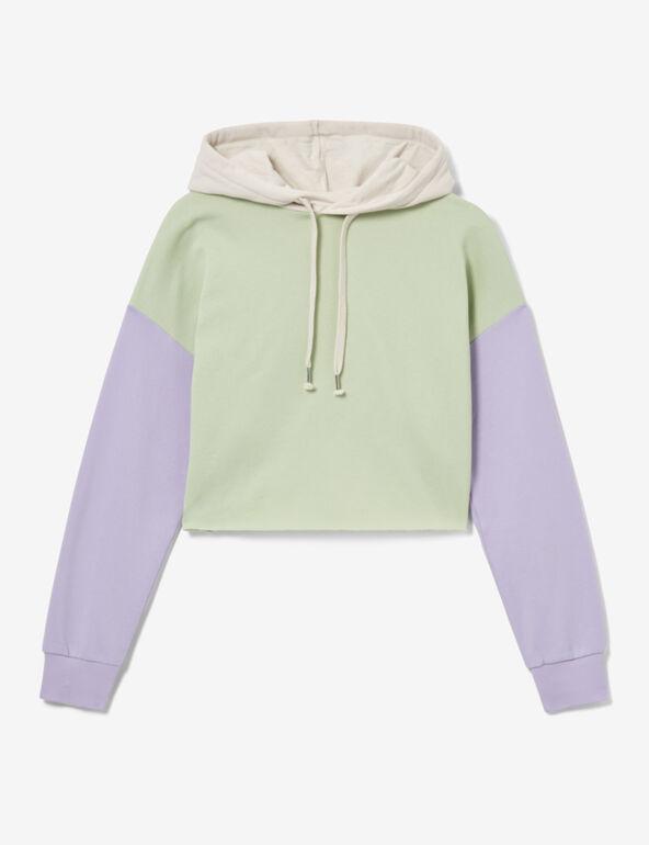 Tri-colour cropped sweatshirt