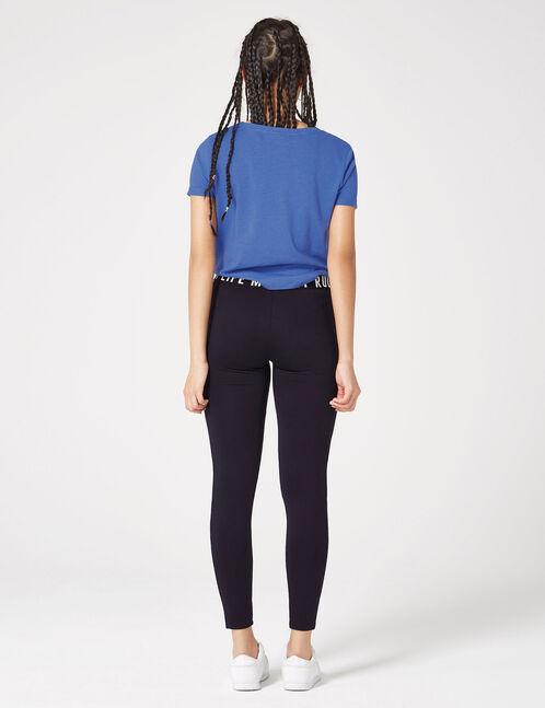 Black printed fitness leggings