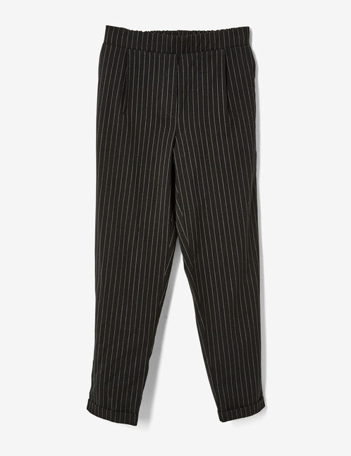 Black tailored pinstripe trousers