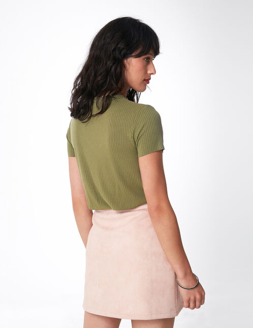 Khaki T-shirt with cut-out detail
