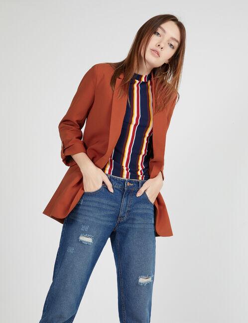 Long rust-coloured blazer